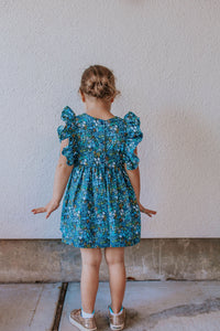 blue and yellow rifle paper co floral dress