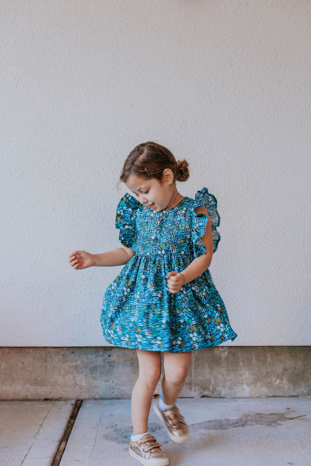 Little Girl's Blue and Yellow Rifle Paper Floral Print Ruffle Cotton Dress