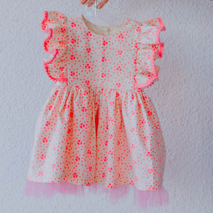 Little Girl's Hot Pink and Ivory Heart Print Valentine's Day Dress with Tulle Underlay and Pom Pom Trim