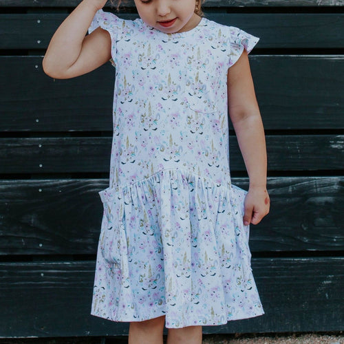 Little Girl's Pastel Unicorn Print Jersey Cotton Three Pocket Dress