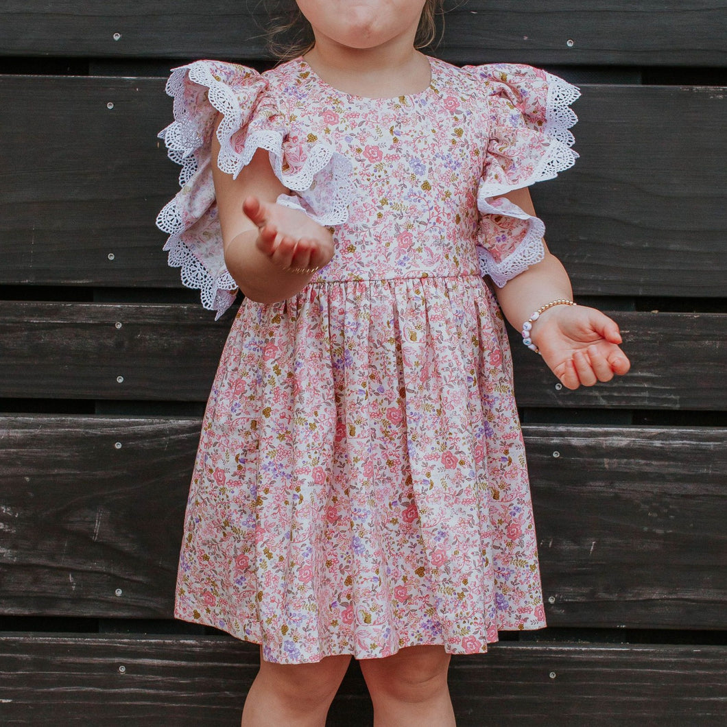 Little Girl's Pink and White Ditsy Floral Calico Print Pinafore Dress with Crochet Lace Trim