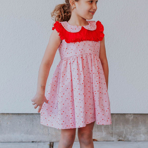 Little girls Valentine's Day pink and red dress