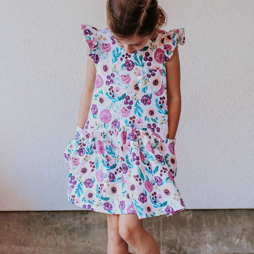 Little Girl's Purple Watercolor Boho Floral Print Three-Pocket Jersey Dress