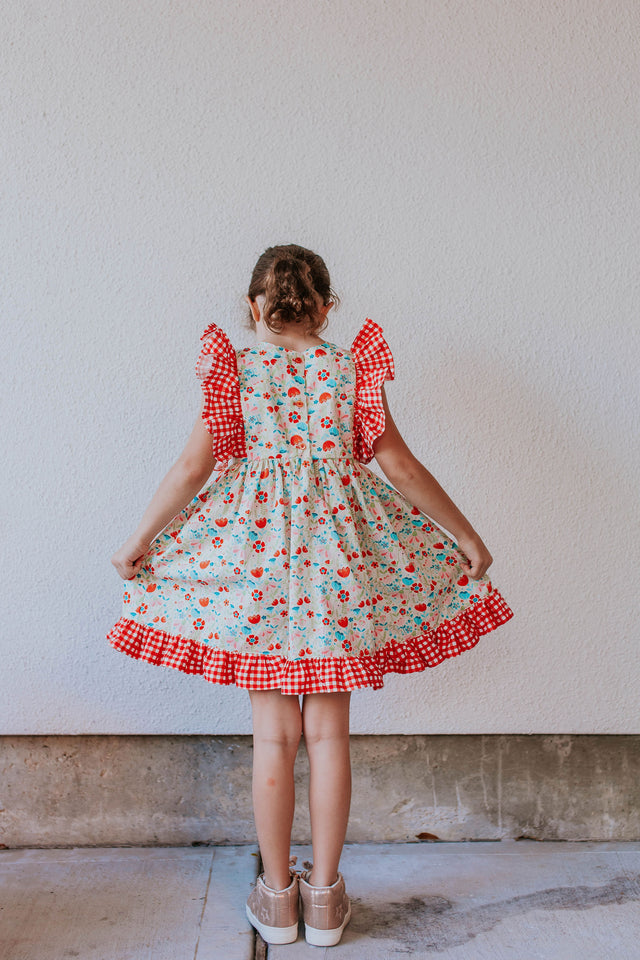 little girls red gingham and flower dress