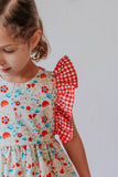 girl's red gingham and floral dress
