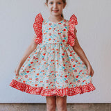 Little Girl's Red Gingham and Floral Ruffle Pinafore Dress