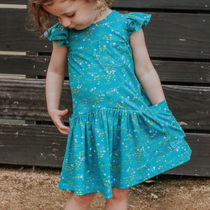 Little Girl's Turquoise Floral Jersey Three Pocket Dress