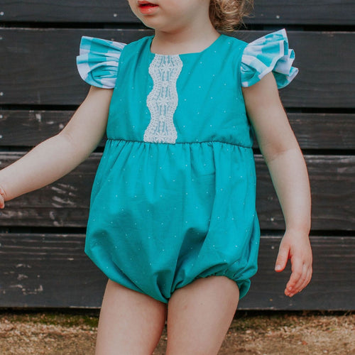 Infant Girl's Turquoise Polka Dots and Plaid Bubble Romper with Lace Trim