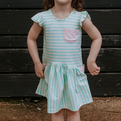 Little Girl's Pastel Mint Stripe Jersey Dress with Pink Cotton Pockets