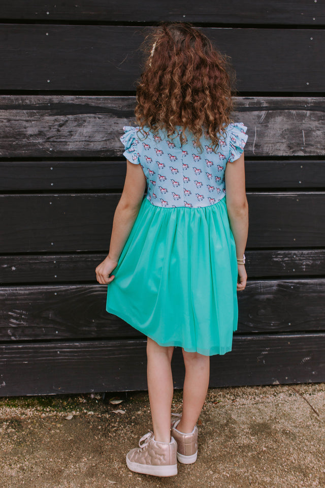 little girls unicorn twirl dress