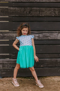 little girls turquoise unicorn jersey and tulle dress