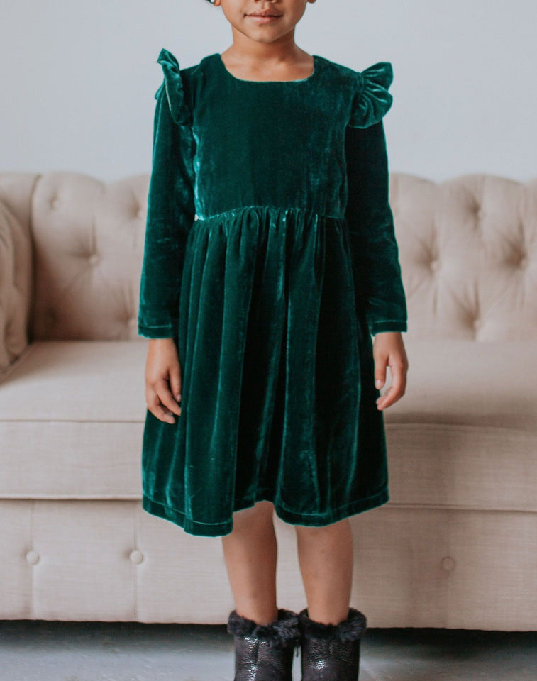 Girls Green Christmas Dress, Girls Holiday Outfits, Joy Dress for Girls