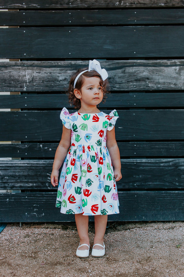 Little Girl's Multicolor Christmas Sweater Print Ruffle Sleeve Cotton Dress