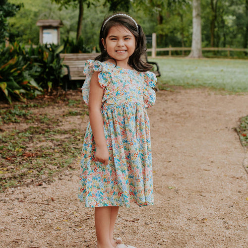 Little Girl's White and Pink Multicolor Rifle Paper Floral Print Ruffle Cotton Dress