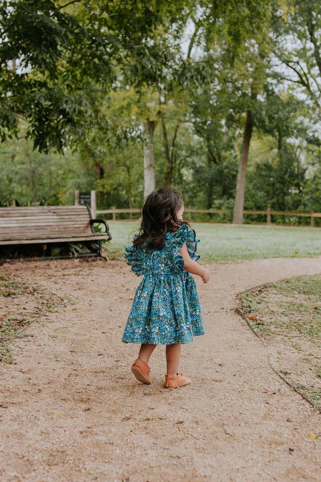 rifle paper co blue meadow floral dress