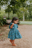 little girls blue and yellow floral rifle paper co flutter sleeve dress