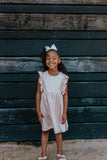 little girls pink metallic ruffle dress