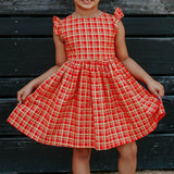 Little Girl's Red and Gold Tartan Print Cotton Christmas Dress