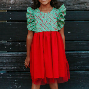 Little Girl's Green and Red Santa's Stocking Ruffle Twirl Dress with Red Tulle Skirt