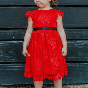 little girls red lace christmas dress