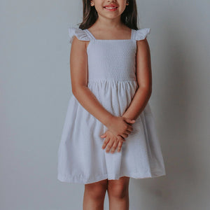 girls white seersucker dress