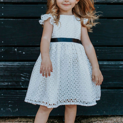 Little Girl's White Lace Christmas Dress with Black Satin Sash
