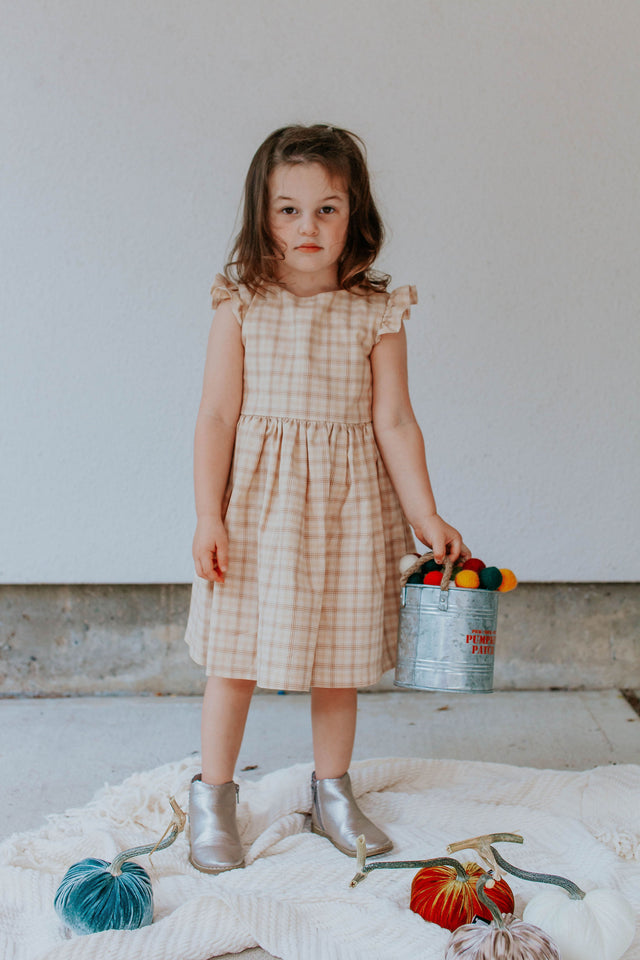 beige plaid little girls dress