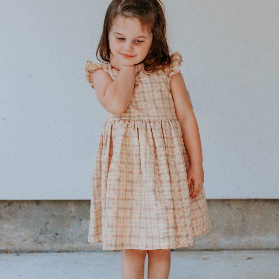 Little Girl's Beige Plaid Ruffle Sleeve Cotton Dress