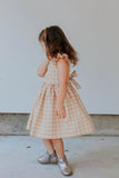little girls beige plaid ruffle sleeve dress
