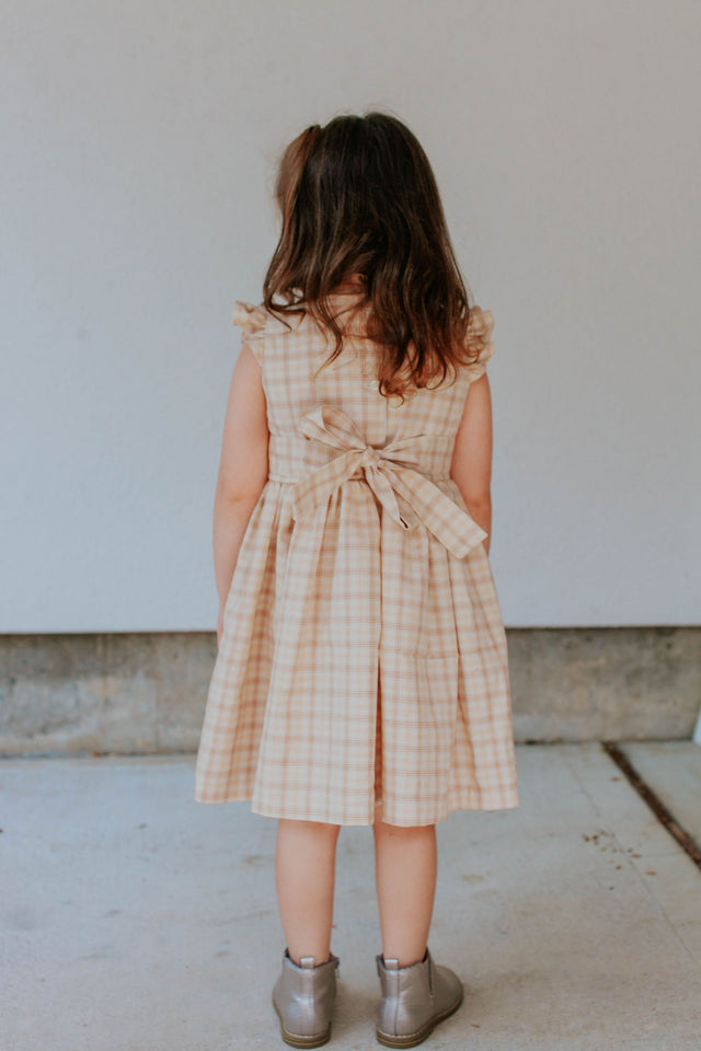 little girls oatmeal beige plaid dress