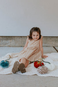 little girls beige plaid fall dress