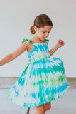 little girls green and blue tie dye dress
