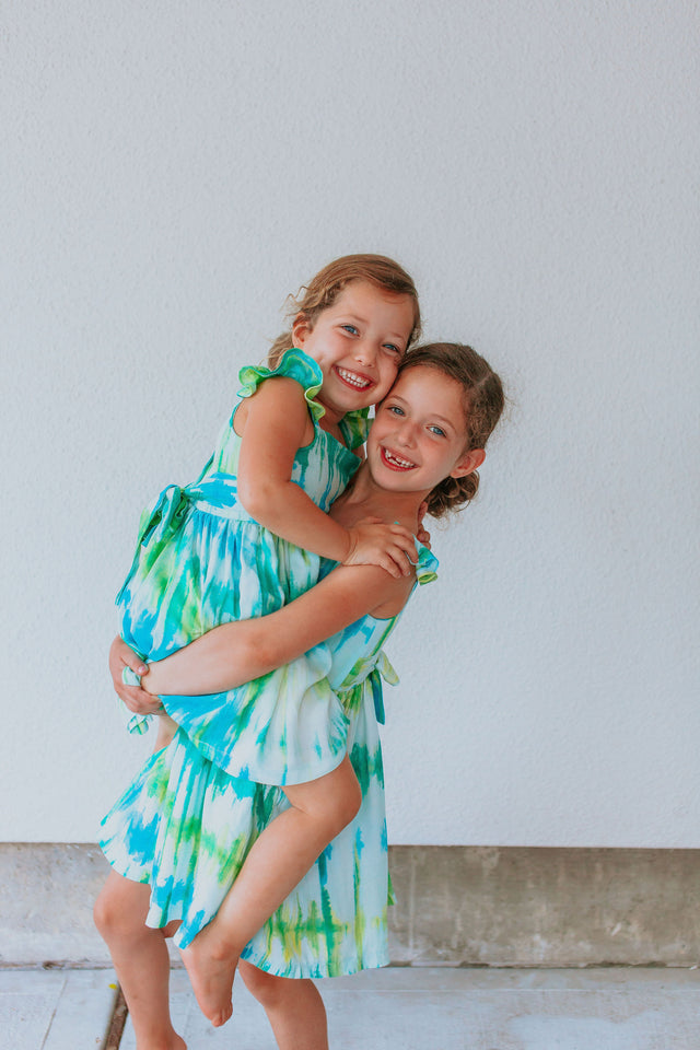 little girls matching sister tie dye dresses