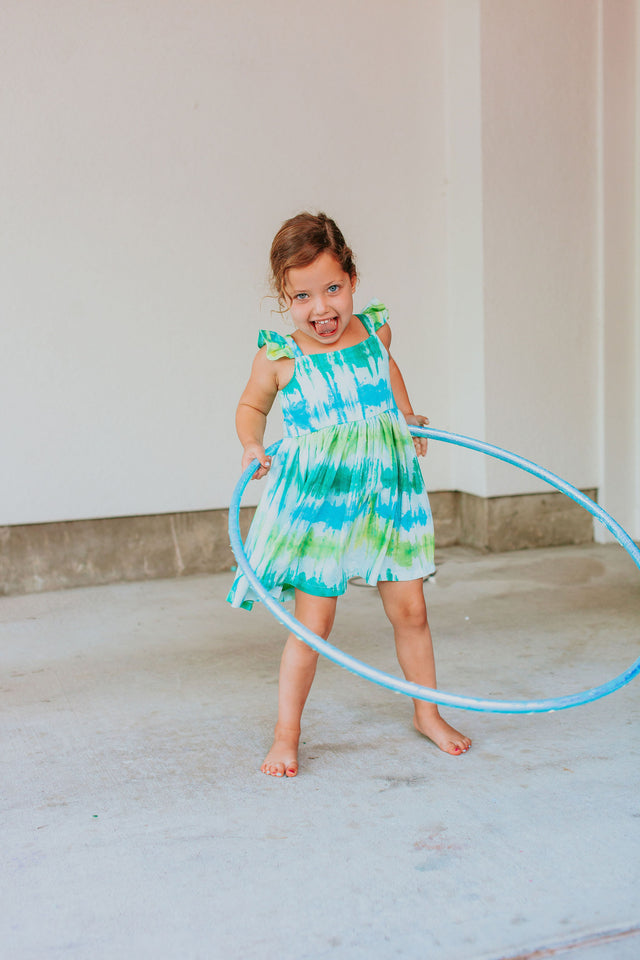 Little Girl's Green and Blue Tie Dye Flutter Sleeve Dress