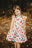 little girls rainbow alpaca print ruffle dress