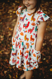 little girls alpaca print dress