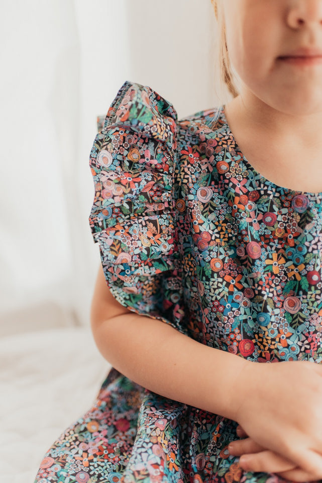 multicolor ditsy floral pinafore dress