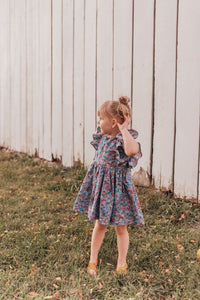 little girl's ruffle floral pinafore dress