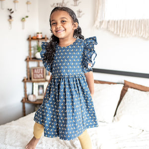 Little Girl's Navy Ditsy Bee Print Cotton Pinafore Dress