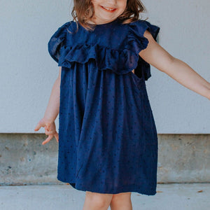 Little Girl's Navy Swiss Dot Ruffle Collar Cotton Shift Dress