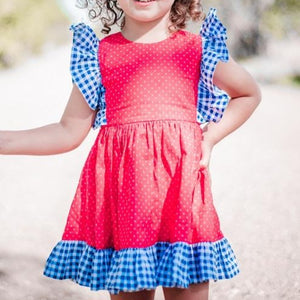 little girls red white and blue dress