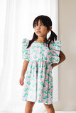 Little Girl's Pink and Green Floral Soft Cotton Flutter Sleeve Pinafore Dress