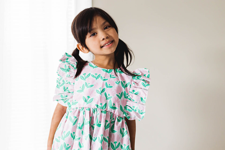 little girls pink and green floral dress