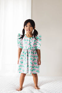little girls pink and green floral ruffle dress