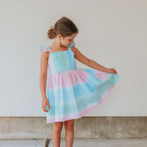 little girls rainbow tie dye seersucker dress