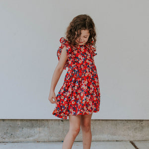 Little Girl's Red Floral Rifle Paper Ruffle Pinafore Dress