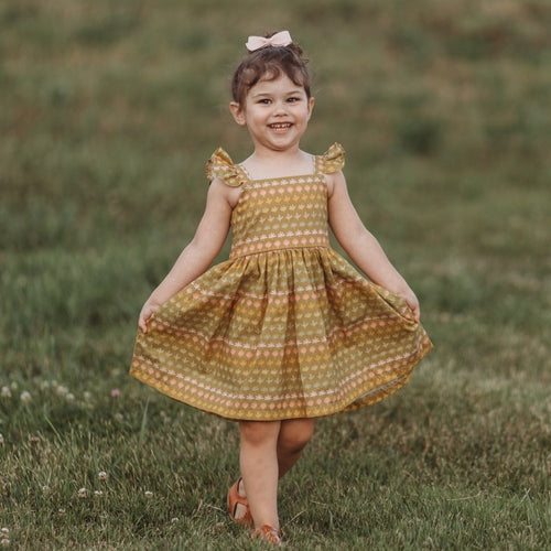 little girls retro floral print dress