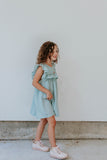 Little Girl's Sage Green Swiss Dot Ruffle Collar Cotton Shift Dress