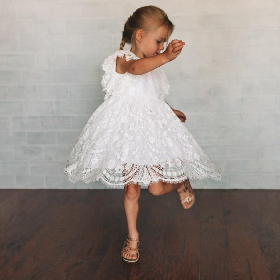 little girl's ivory lace flower girl dress
