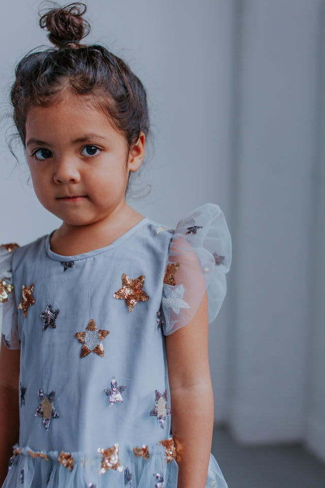 gray star dress little girls